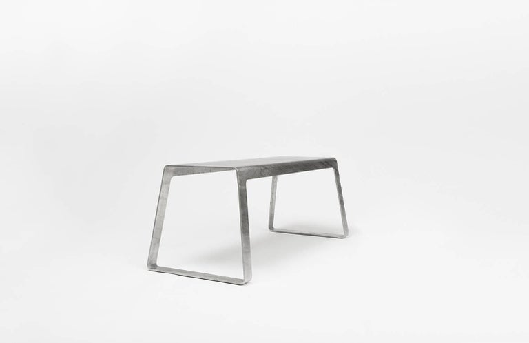 Minimalist A_Bench in Hot-Dipped Galvanized Steel Plate by Jonathan Nesci For Sale