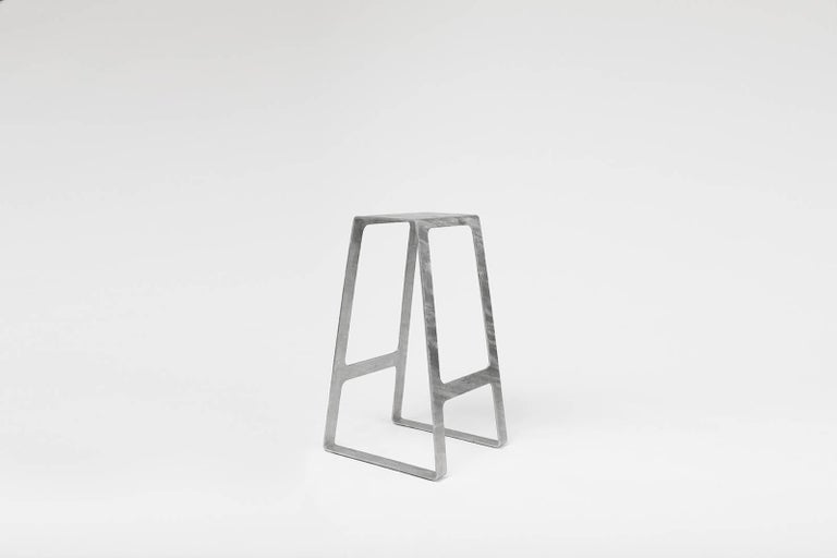 Minimalist A_Stool in Galvanized Steel Bar Height Stool prototype by Jonathan Nesci For Sale