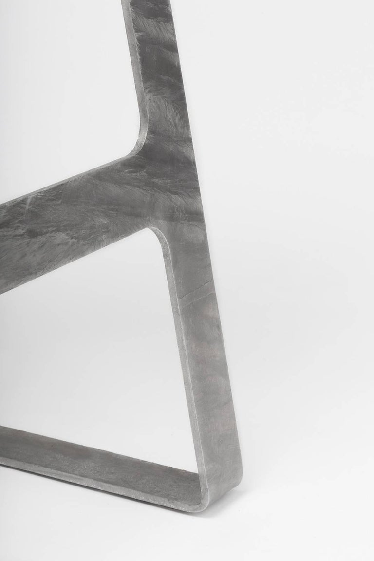 American A_Stool in Galvanized Steel Bar Height Stool prototype by Jonathan Nesci For Sale