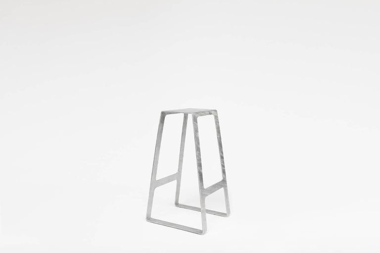 A_Stool in Galvanized Steel Bar Height Stool prototype by Jonathan Nesci In Excellent Condition For Sale In Columbus, IN