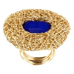 AA Lapis Lazuli in 14 Karat Gold Contemporary Cocktail Ring by Sheila Westera
