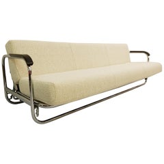 AA1 Sofa Bed by Alvar Aalto for MisuraEmme with Tubular Structure in Chrome