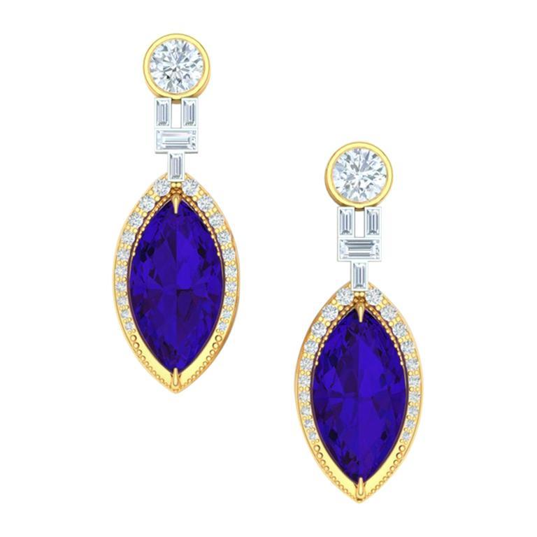 AAA 5 Carat Tanzanite and Diamond Yellow and White Gold Drop Dangle Earrings
