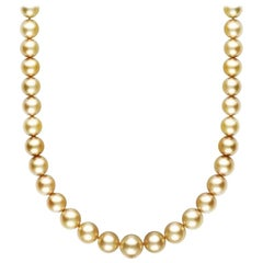 AAA Quality Golden South Sea Pearl Necklace White Gold Diamond Studded Clasp