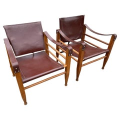 Aage Bruun and Son Safari Chairs in Patinated Leather, Denmark, 1960s