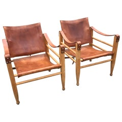 Aage Bruun and Son Safari Chairs in Patinated Tan Leather, Denmark, 1960