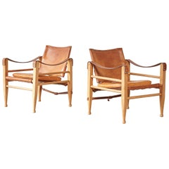 Aage Bruun and Son Safari Chairs in Patinated Tan Leather, Denmark, 1960s