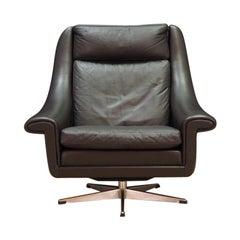 Aage Christensen Armchair Brown Leather 1970s Vintage