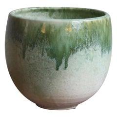 Aage & Kasper Würtz One off Hand Thrown Art Piece Oval Vase White & Green Glaze