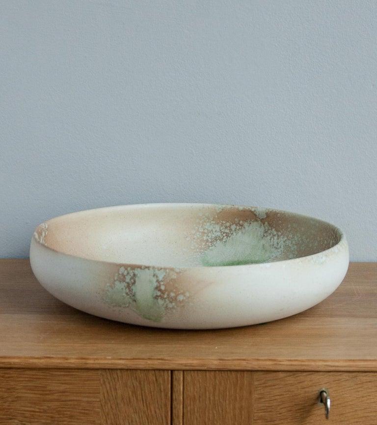 Scandinavian Modern Aage & Kasper Würtz One Off Large Bowl Pink & Green Glaze For Sale