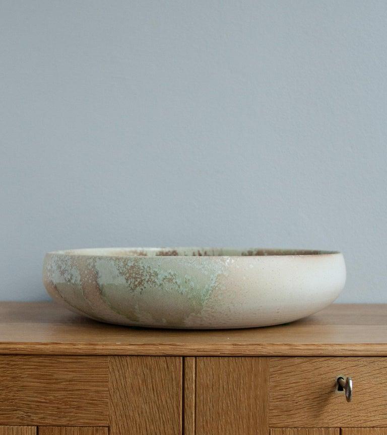 Hand-Crafted Aage & Kasper Würtz One Off Large Bowl Pink & Green Glaze For Sale