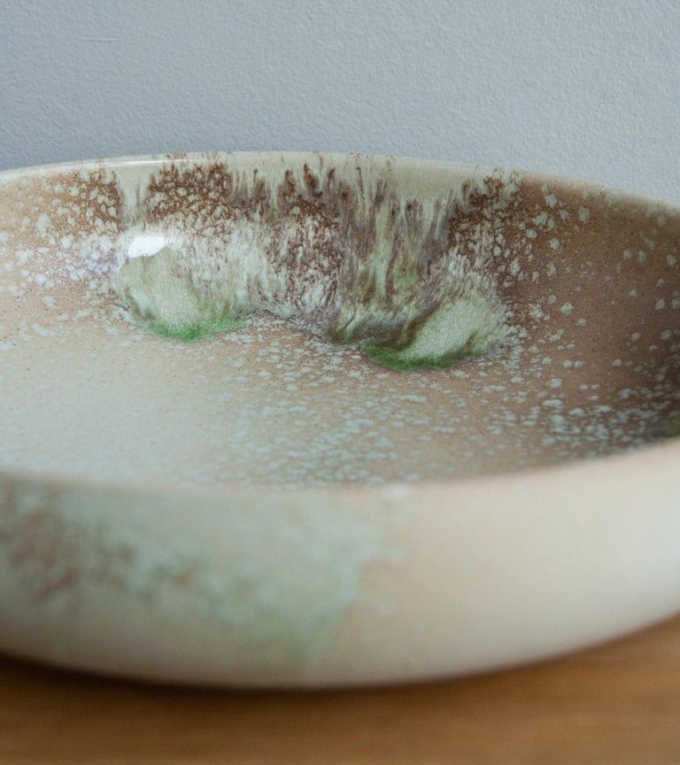 Aage & Kasper Würtz One Off Large Bowl Pink & Green Glaze In Excellent Condition For Sale In London, GB
