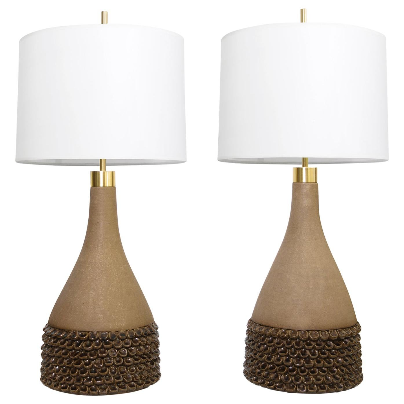 Aage Rasmus Selsbo Large Pair of Ceramic Lamps Studio Selsbo Keramik, Denmark