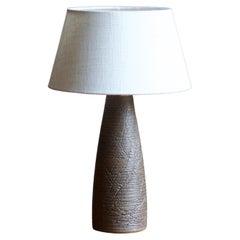 Aage Rasmus Selsbo, Table Lamp, Brown Stoneware, Simlångsdalen, Sweden, 1960s