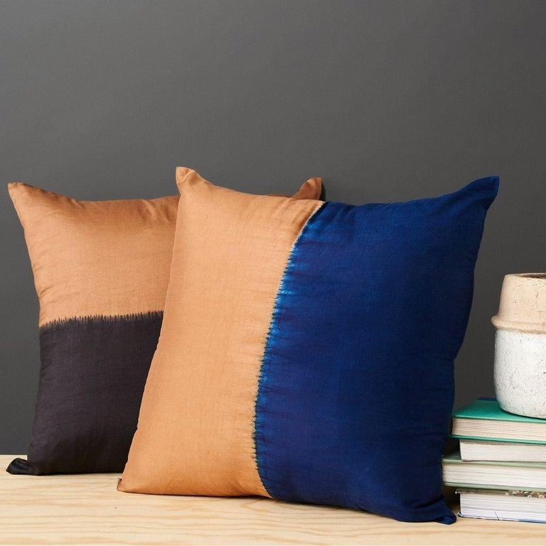 Custom design by Studio Variously, AAKAR  pillow is handmade by master artisans in India. A sustainable design brand based out of Michigan, Studio Variously exclusively collaborates with artisan communities to restore and revive ancient techniques