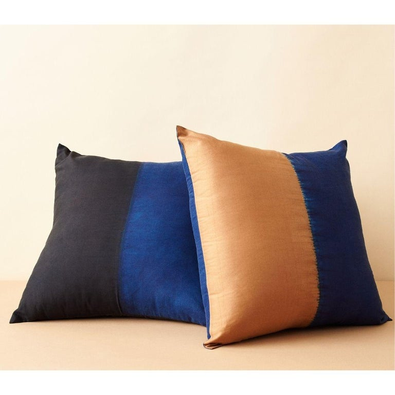 Dyed AAKAR Color Block Silk Pillow In Indigo Gold  For Sale