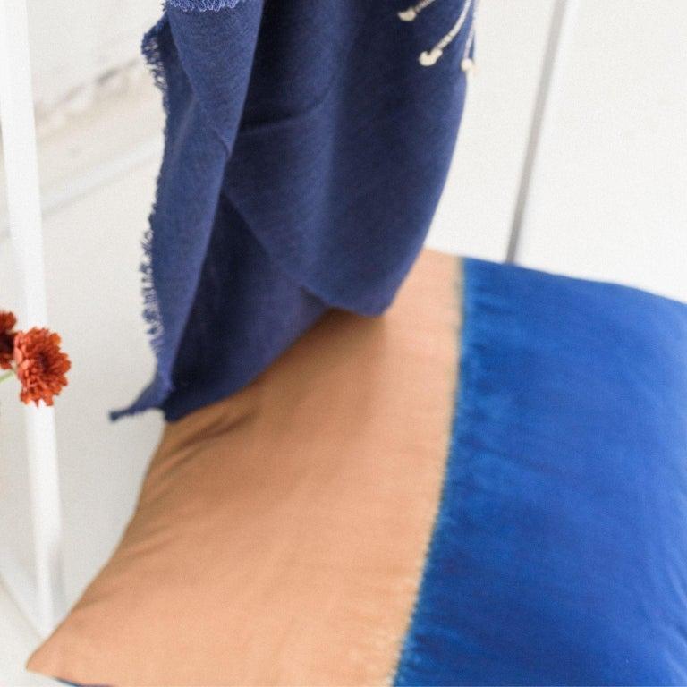 AAKAR Color Block Silk Pillow In Indigo Gold  For Sale 1