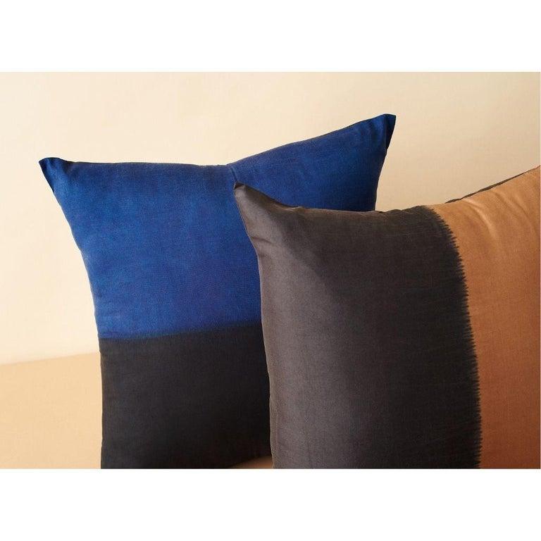 Modern AAKAR MOR Color Block Silk Pillow in Indigo Black  For Sale