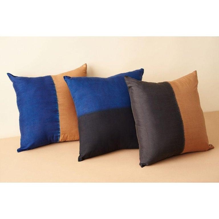 Indian AAKAR MOR Color Block Silk Pillow in Indigo Black  For Sale