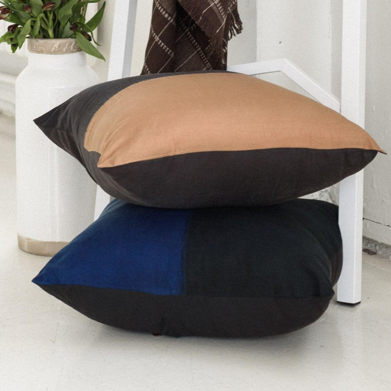 AAKAR MOR Color Block Silk Pillow in Indigo Black  For Sale 1