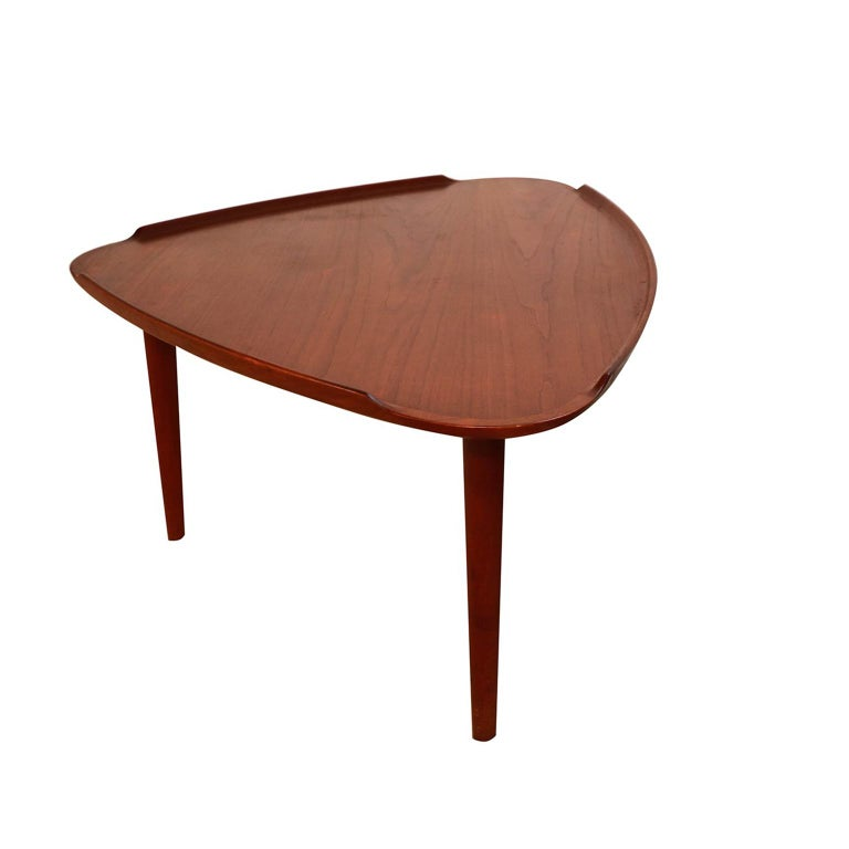 Mid-Century Modern Aakjaer Jorgensen for Mobelintarsia Danish Modern Teak Triangular Coffee Table For Sale
