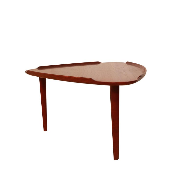 Aakjaer Jorgensen for Mobelintarsia Danish Modern Teak Triangular Coffee Table In Good Condition For Sale In Baltimore, MD