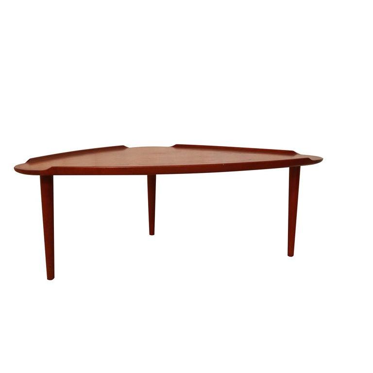 Mid-20th Century Aakjaer Jorgensen for Mobelintarsia Danish Modern Teak Triangular Coffee Table For Sale