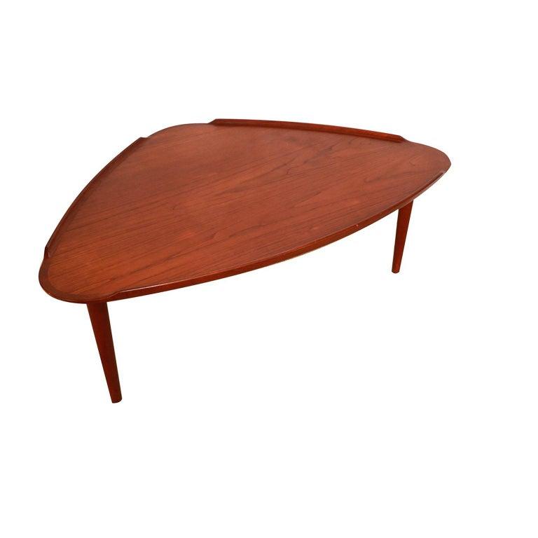 Aakjaer Jorgensen for Mobelintarsia Danish Modern Teak Triangular Coffee Table For Sale 1