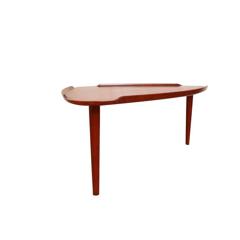 Aakjaer Jorgensen for Mobelintarsia Danish Modern Teak Triangular Coffee Table For Sale 2