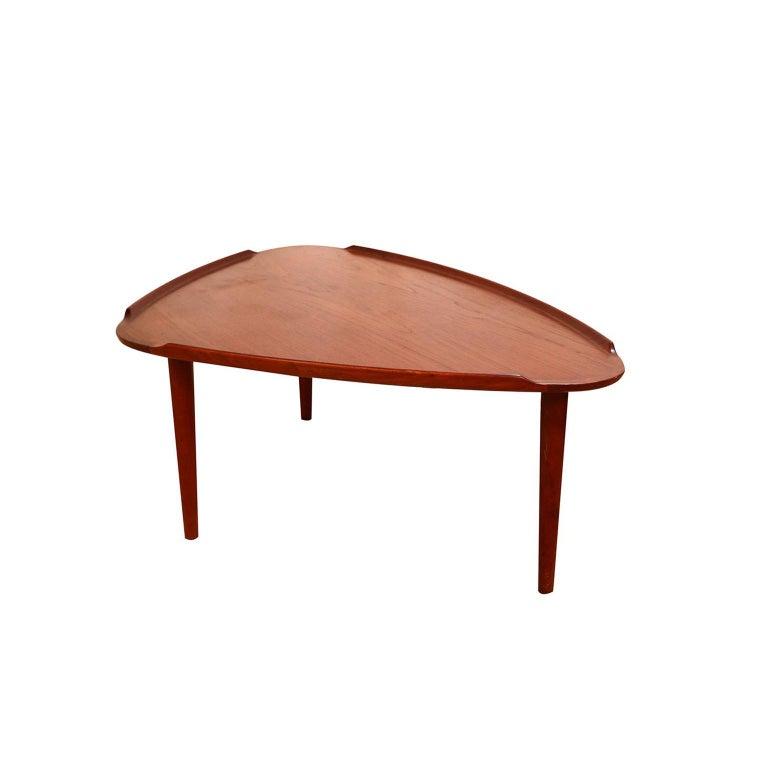 Aakjaer Jorgensen for Mobelintarsia Danish Modern Teak Triangular Coffee Table For Sale 3