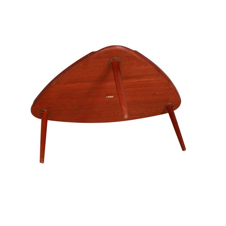 Aakjaer Jorgensen for Mobelintarsia Danish Modern Teak Triangular Coffee Table For Sale 4