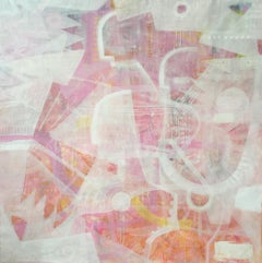 Wax Museum - White abstract painting with pink