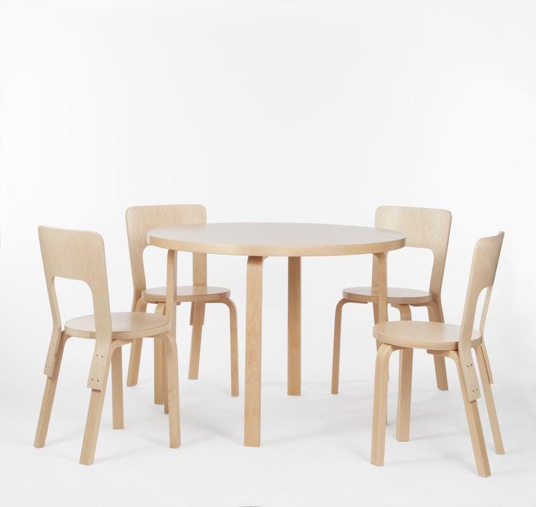 Scandinavian Modern Aalto Table Round 90A in Birch by Alvar Aalto & Artek