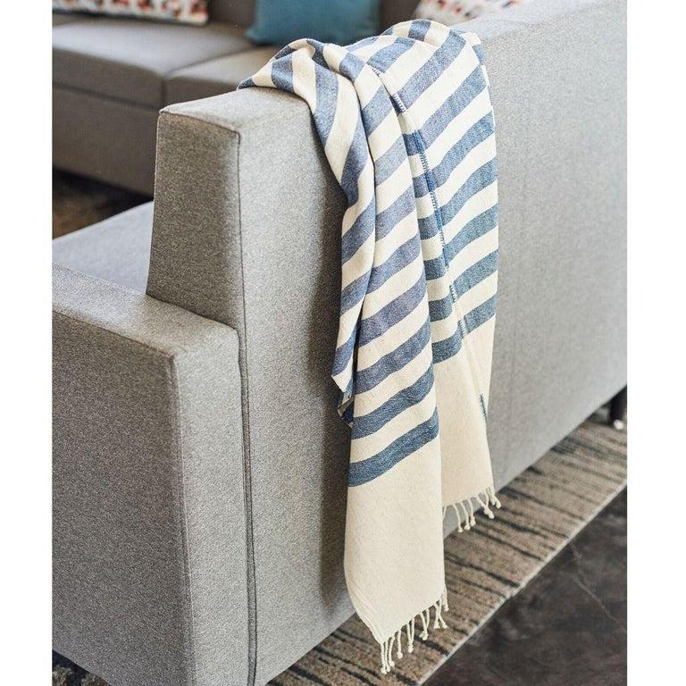 AARI Handloom Indigo Stripes Pattern Throw / Blanket in Organic Cotton For Sale 3