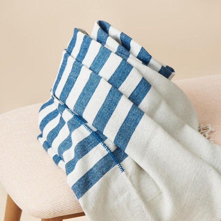 Modern AARI Handloom Indigo Stripes Pattern Throw / Blanket in Organic Cotton For Sale