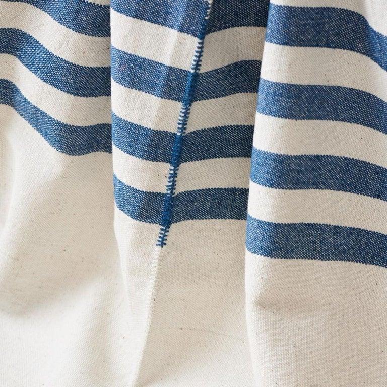 Hand-Woven AARI Handloom Indigo Stripes Pattern Throw / Blanket in Organic Cotton For Sale
