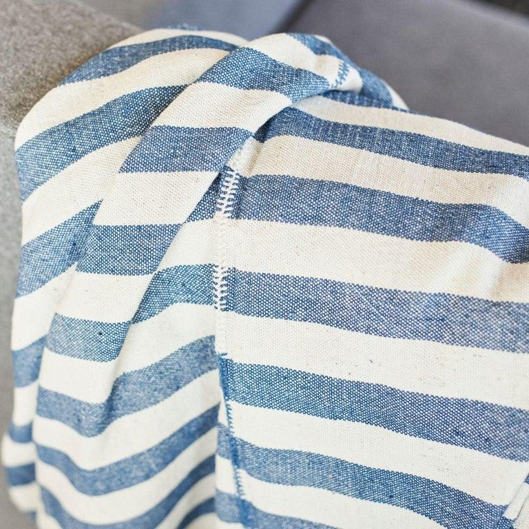 AARI Handloom Indigo Stripes Pattern Throw / Blanket in Organic Cotton For Sale 1