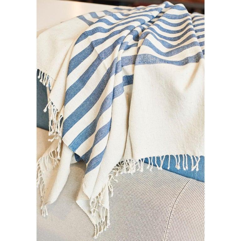 AARI Handloom Indigo Stripes Pattern Throw / Blanket in Organic Cotton For Sale 4