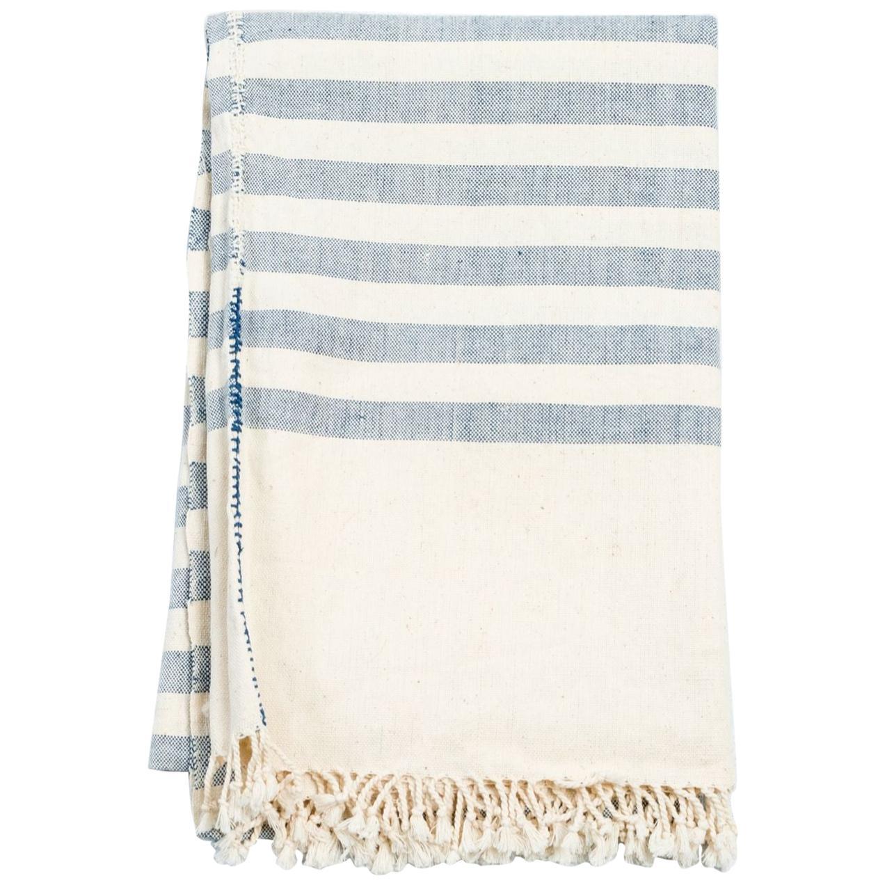 AARI Handloom Indigo Stripes Pattern Throw / Blanket in Organic Cotton