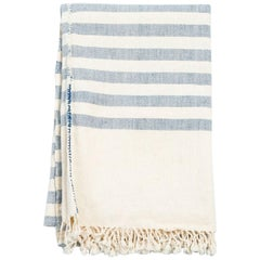 AARI Handloom Indigo Stripes Pattern Throw / Blanket in Organic Cotton