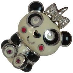Aaron Basha 18 Carat Gold Enamel Diamond Panda Charm Pendant