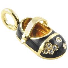 Aaron Basha 18 Karat Gold Diamond and Black Enamel Baby Shoe Charm or Pendant