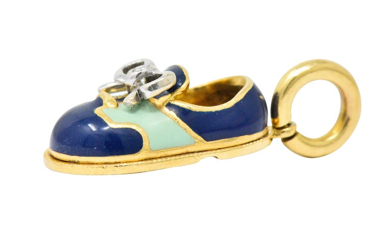 Aaron Basha 18 Karat Gold Enamel Navy Blue Green Saddle Shoe Charm In Excellent Condition For Sale In Philadelphia, PA