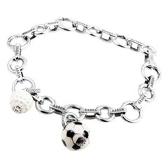 Aaron Basha 18 Karat White Gold Diamond Sports Charm Bracelet