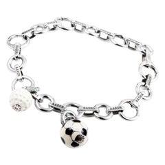 Aaron Basha 18 Karat White Gold Diamond Sports Charm Bracelet