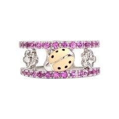 Aaron Basha 18 Karat White Gold Pink Sapphire and Diamond Ladybug Ring