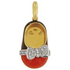 Aaron Basha 18 Karat Yellow Gold Enamel and Diamond Shoe Black and Red