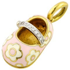Aaron Basha 18 Karat Yellow Gold Pink White Enamel Diamond Shoe