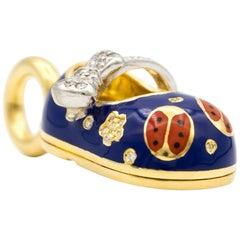Aaron Basha Baby Shoe Lady Bug Charm with Diamonds in 18 Karat