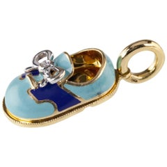 Aaron Basha Blue Enamel and Diamond Shoe Pendant in Yellow Gold